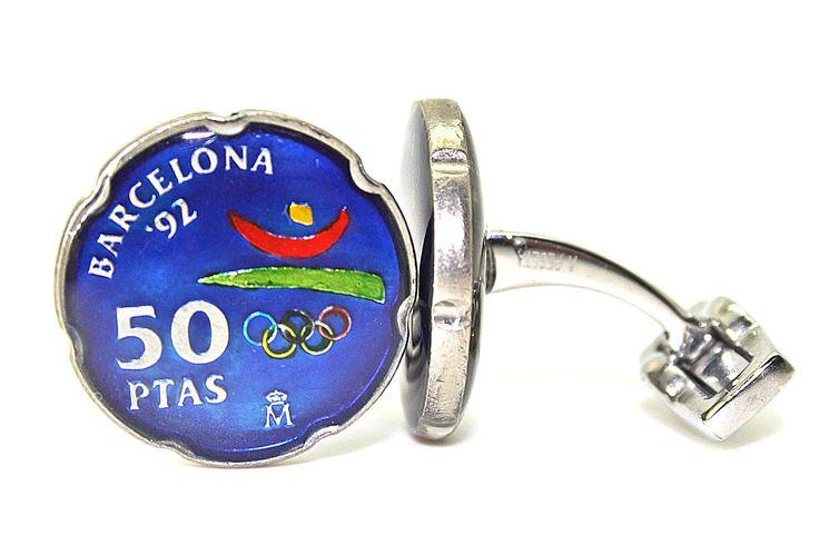 Gemelos con monedas de 50 pesetas de 1992. En honor de las Olimpiadas de Barcelona  Gemelos A Peseta  Historia en tus puños.  www.gemelosapeseta.com