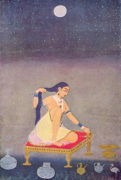 Anonymous, Radha at night, Mughal painting, 1650