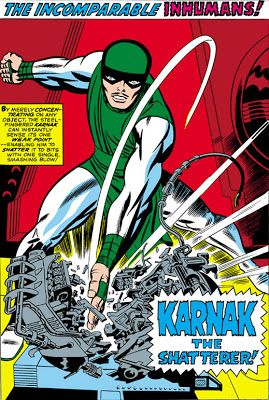 KARNAK, THE SHATTERER Inhumans pin-ups by Jack Kirby from Fantastic Four...
