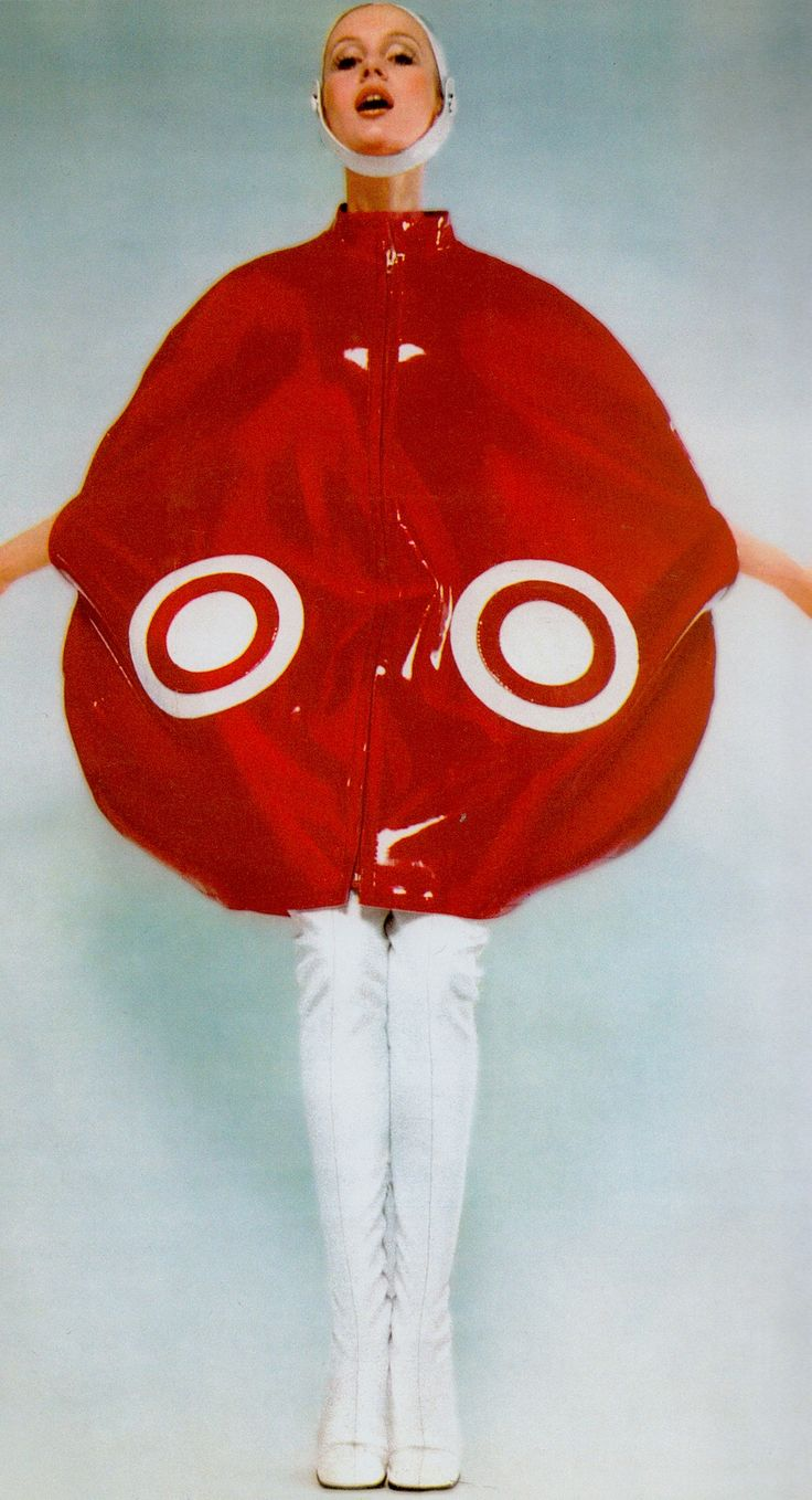 Lou Lou wearing Cardin's red plastic ball ensemble 1969