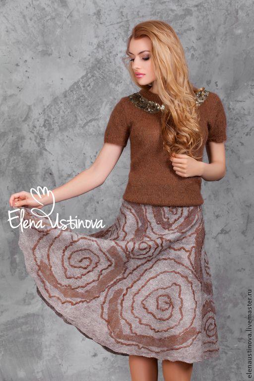 """Купить """"Circles on the water"""". Юбка валяная. - коричневый, абстрактный, юбка, юбка длинная"""