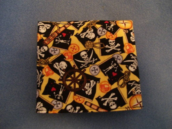 Trifold Unisex Fabric Wallet with Pirates Skull and by SpiritPenny, $20.00