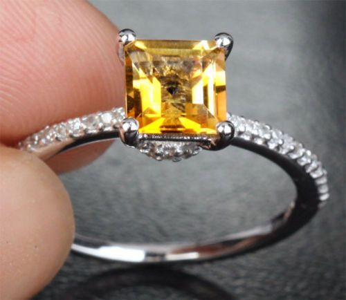 $419 Princess Citrine Engagement Ring Pave Diamond Wedding 14k White Gold 6mm
