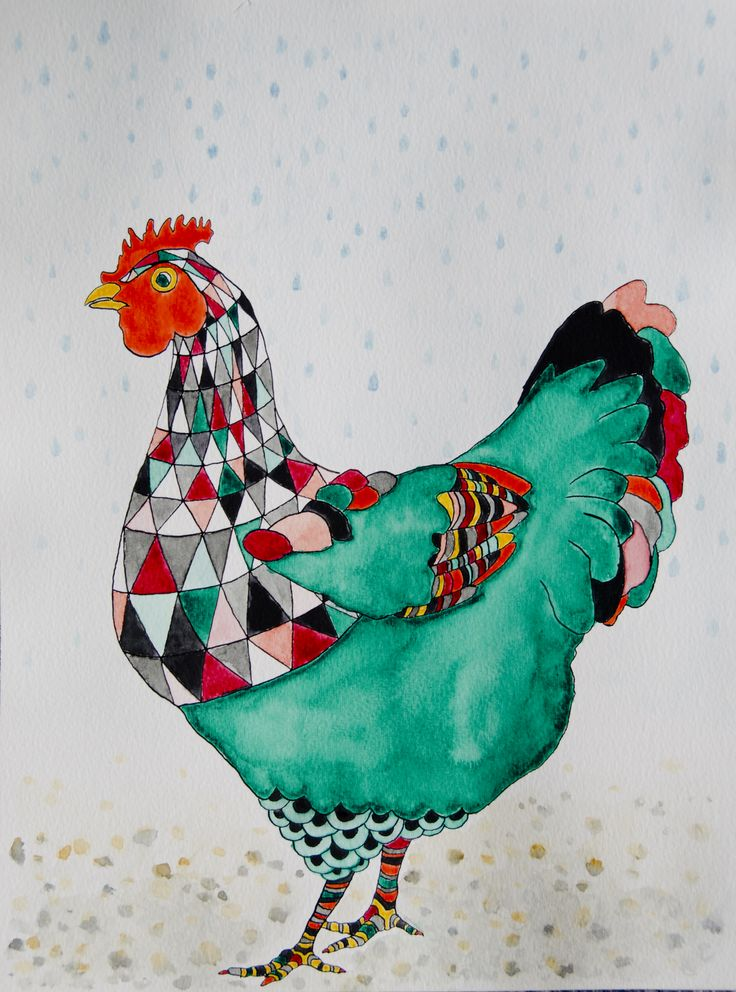 Green hen. Watercolour and ink drawing by katrine mosegaard