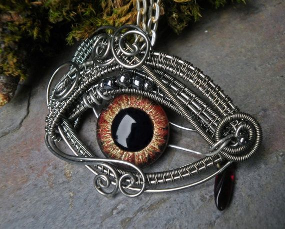 Gothic Steampunk Red Eye Pendant with Tear by twistedsisterarts