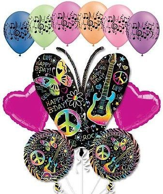 11pc Neon Butterfly Happy Birthday to You Balloon Bouquet Graffiti Music Guitar