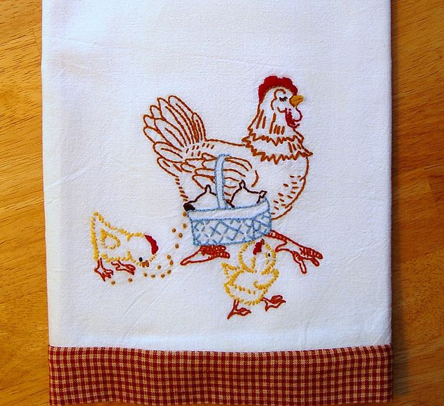 Mother Hen - Hand embroidered floursack tea towel with vintage embroidery design by Needle-n-Me, via Flickr