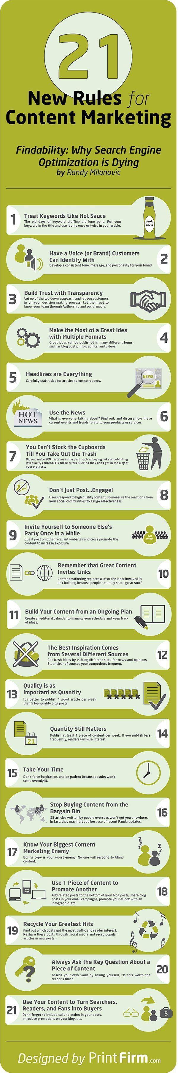 21 New Rules for #ContentMarketing #infographic image by @PrintFirm.com.com via blog.printfirm.com