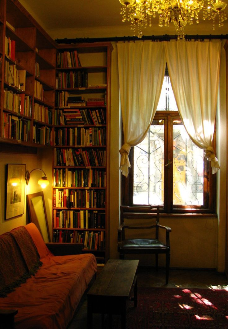 wall-to-ceiling bookshelves. . .art deco chandelier. . .afternoon sunlight through the double windows...ahhh cosy home office.