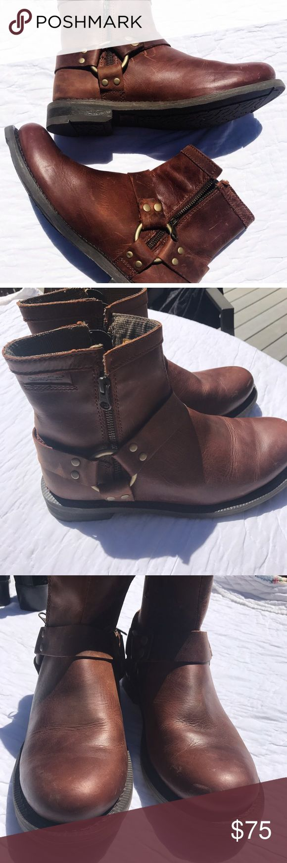 Men's Harness Boots CAT men's Westwood harness boots. Never worn. Minor stuffing to leather. No wear on sole. Brown. Caterpillar Shoes Boots