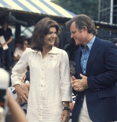 Jackie with Ted in 1975 at one of those RFK Tennis Tournaments.