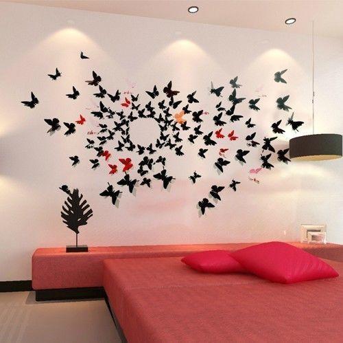 Pas cher 2014 chaud 3d 12cm sticker mural papillon décoration bricolage maison art déco, Acheter  Autocollants muraux de qualité directement des fournisseurs de Chine: chaque pack comprend 12 pièces de papillons;6 x 7.5cm papillons + 12cm x 6 papillons   3 Styles Groom