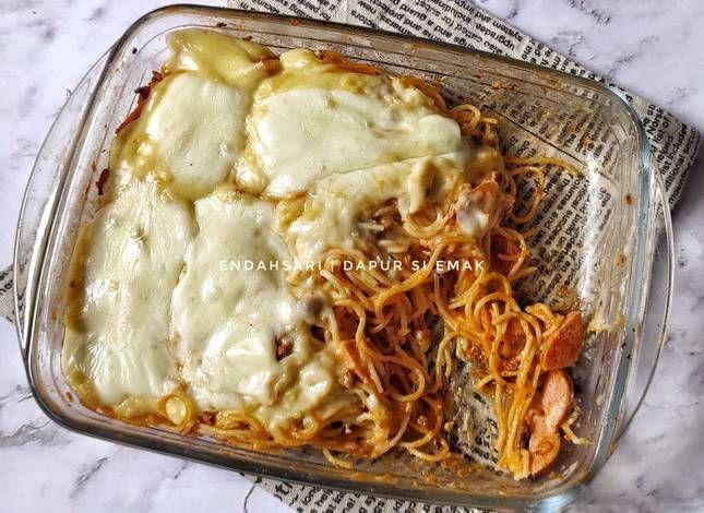 Resep Simple Baked Spaghetti Spaghetti Brulee Oleh Endah Sari Dapur Si Emak Resep Daging Cincang Sosis Masakan