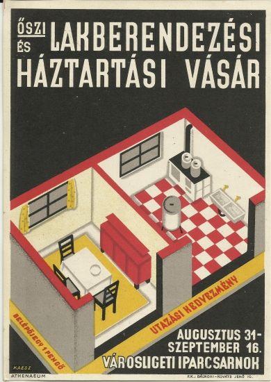 rare original vintage poster art deco hungary 1920s kaesz design