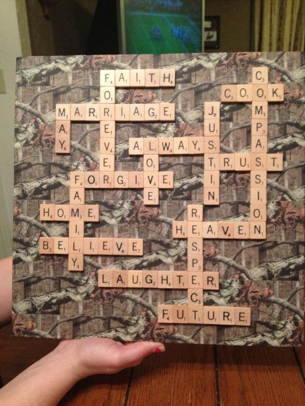 Camoflauge Scrabble Decor - 20  Unique Camouflage Wedding Ideas, http://hative.com/unique-camouflage-wedding-ideas/,