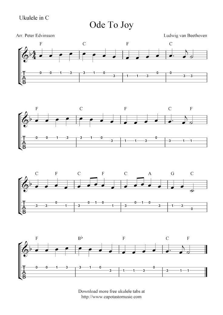 Free Sheet Music Scores: Ode To Joy, free ukulele tab sheet music | Ukulele tabs, Ukulele songs ...