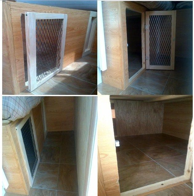 Rving with animals can become so much easier with our redo! We transformed our 'under the bed storage area' into a dog crate.  Our dogs love this large area and everyone with animals who can, should do this upgrade.  With the vinyl floor and ability to still open from the top hinge means any cleanup needed is a breeze.  Your dog (or even cats) will thank you!  Changed our rv experience!