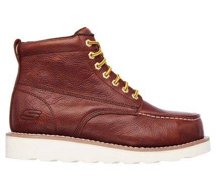 Skechers Men's Pettus Grafford Memory Foam Steel Toe Work Boots (Red/Brown)
