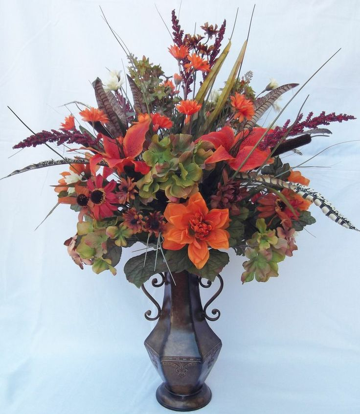 47 best foyer table images on pinterest home homes and for Fall fake flower arrangement ideas