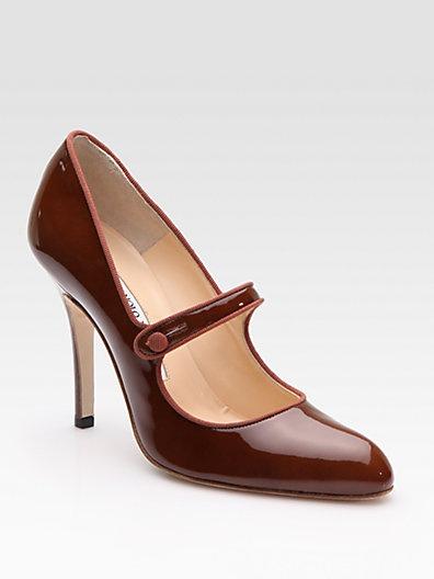 So pretty! Manolo Blahnik - Campy Patent Leather Mary Jane Pumps - Saks.com