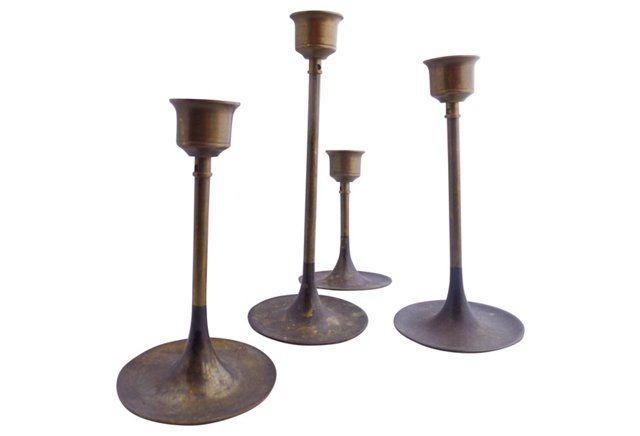 Midcentury Candleholders, S/4