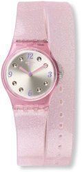 Swatch Swiss Brillante Pink Glitter Silicone Double Wrap Strap Ladies Watch LP132