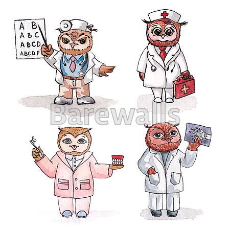 """""""Owls - employees of medicine. Vector watercolor."""" - Classroom decor posters and prints available at Barewalls.com"""