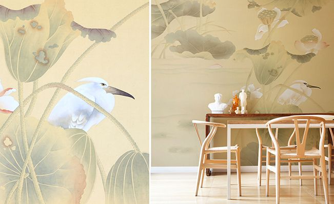 Dining room wall in Misha's modern chinoiserie, White Heron wallpaper design on Giallo di Napoli dyed silk.