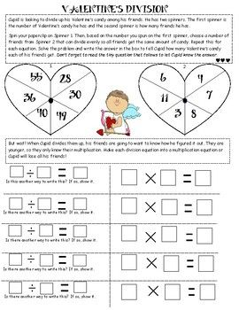 This is a fun spin on division. Literally, spin! This Valentine's Division uses spinners to make division higher order thinking. Students must spin from the first spinner and then must understand which number from the second spinner to have the Valentine's cards divided evenly.