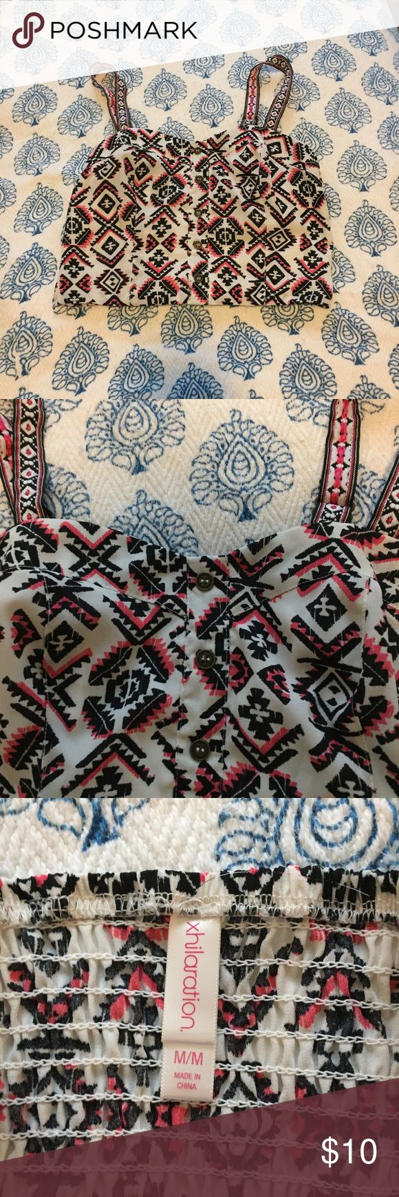 XHILERATION White Patterned Crop atop Flirty very cropped top. Great for a summer outfit-- light colored jeggings and sandals. Perfect Condition. The buttons are just for decoration. Stretches on back but not on breasts. SMOKE FREE/PET FREE HOME. Xhilaration Tops Crop Tops
