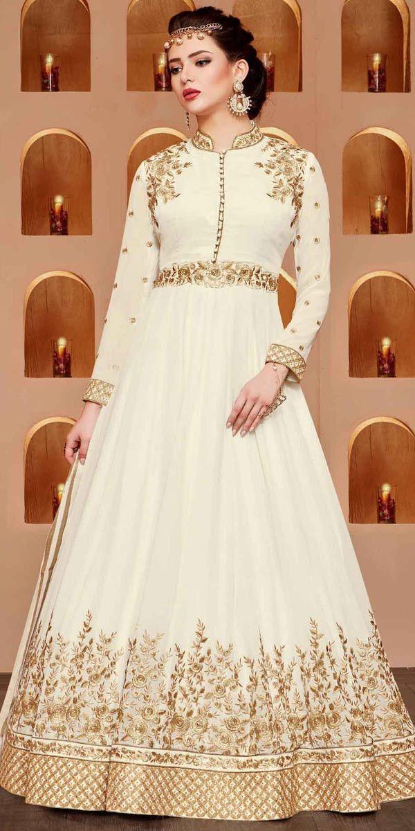 Ravishing White Georgette Anarkali Suit.