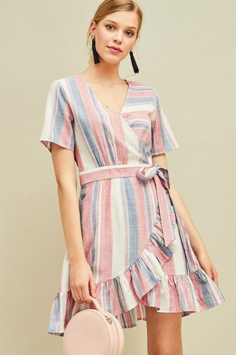 004c8bac908 Entro Striped Wrap Dress in Denim and Pink