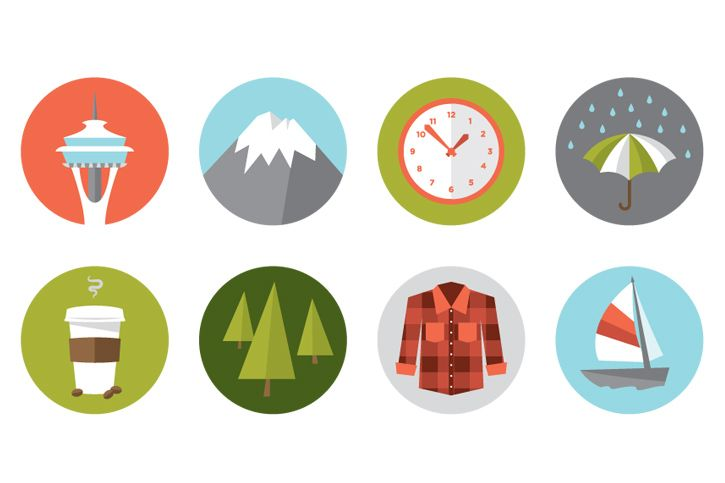 Free Stuff: Seattle Icons - Creativello - Design Illustration Freebies