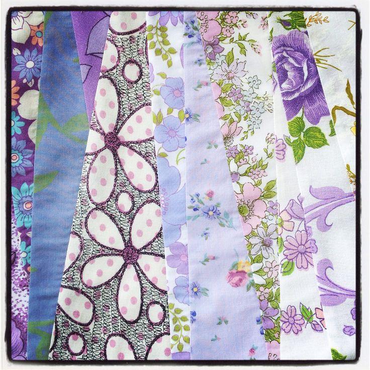 Strip patchwork using upcycled vintage fabrics.