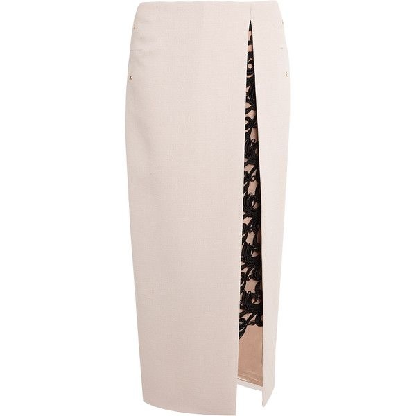 Marios Schwab Contrast Lace Wool Crepe Maxi Pencil Skirt (22.515 RUB) ❤ liked on Polyvore featuring skirts, bottoms, pencil skirt, wool pencil skirt, layered skirt, lace skirt and pink maxi skirt