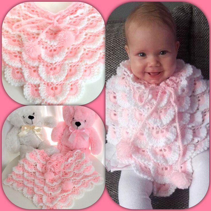 Een persoonlijke favoriet uit mijn Etsy shop https://www.etsy.com/nl/listing/533094978/baby-poncho-meisjes-roze-met-witmet-v