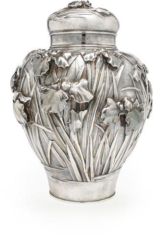 LARGE SILVER TEA CADDY AND COVER By Tosho, Meiji period (late 19th century) Sold for US$ 10,000 inc. premium  AUCTION 21786: FINE JAPANESE WORKS OF ART Including selections from the collection of Ruth and Carl Barron