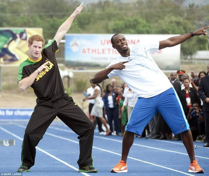 Prince Harry 'Bolting' with Usain Bolt