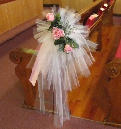 """Tulle Pew Bows; Gorgeous pics of church, reception halls, outdoor ceremonies & bridal flowers.  Easy """"how to"""" tutorials for making bows and florals."""