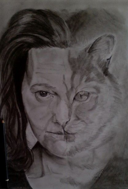 Cat - woman - pencil-drawing -  art