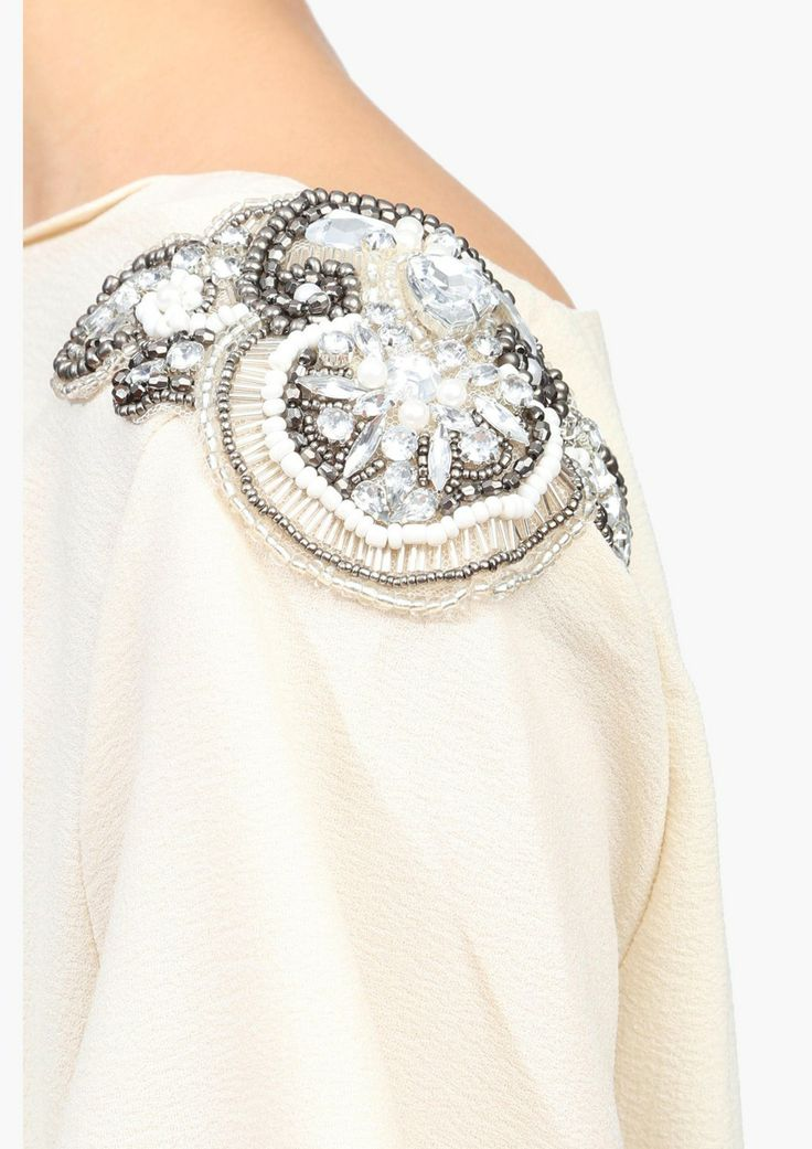 Carrie Top  embellished shoulder: in black plus add dripping beads strung