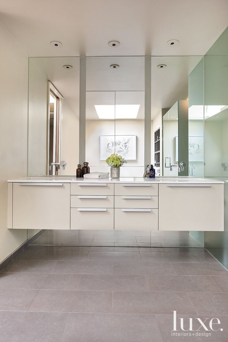 Contemporary cream master bath bathroom pinterest for Modern master bathroom vanities