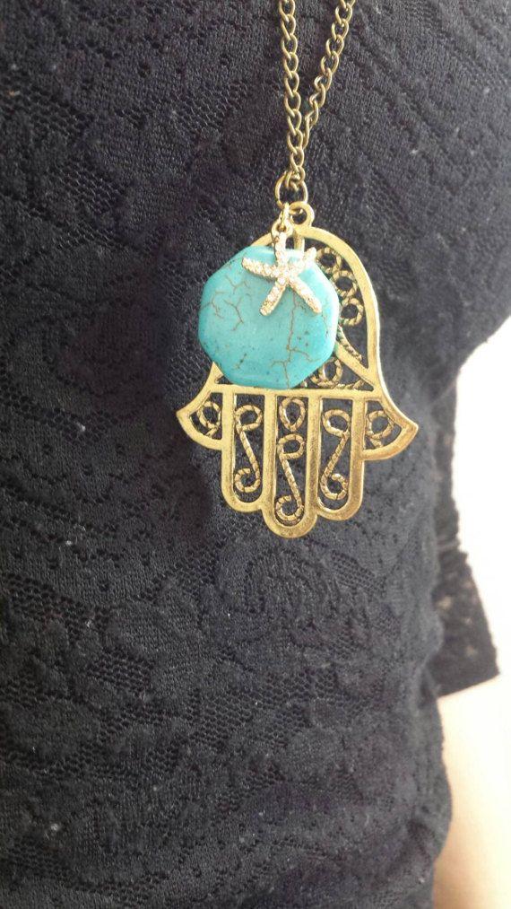 Guarda questo articolo nel mio negozio Etsy https://www.etsy.com/it/listing/502917340/collana-mano-di-fatima-e-pietra-turchese