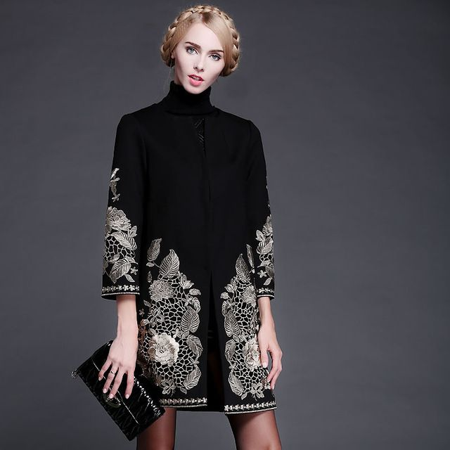 Runway Noble 2015 Autumn&Winter Gold Flower Embroidery Long-sleeve Covered Button Sashes Wool Slim Coat Outerwear US $68.02 /piece    CLICK LINK TO BUY THE PRODUCT  http://goo.gl/oYWEYs