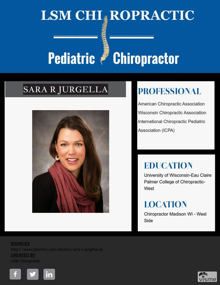 Pediatric Chiropractor For Kids and Family Sara R Jurgella  is very excited to be part of the LSM Clinics! She is so rewarding to be able to positively impact people's health through chiropractic care. She have received extra training in muscle/myofascial release techniques, nutrition, and chiropractic care for pregnant women using the Webster technique.