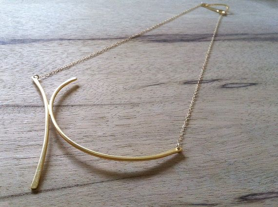 Geometric necklace Geometric and delicate gold by ReutSeagel