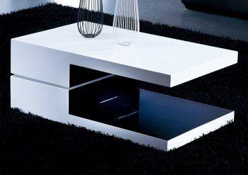White and Black Rectangular High Gloss Modern Coffee Table