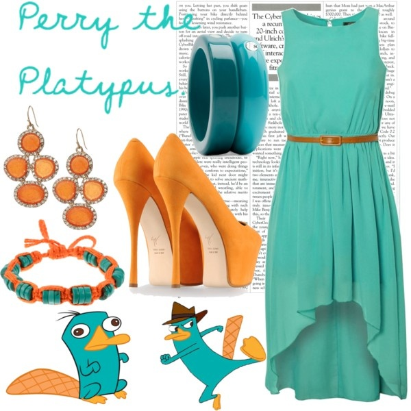 Perry the platypus from Phineas and Ferb created by disney-bound on Polyvore