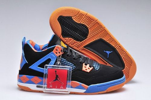 Nike Air Jordan 4 Iv Free Girls Shoes Black Blue Orange Denmark