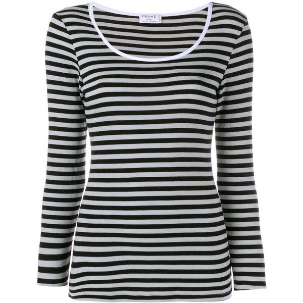 Frame Denim Striped Long Sleeve T-Shirt ($70) ❤ liked on Polyvore featuring tops, t-shirts, shirts, stripes, long sleeve tee, black and white stripe shirt, white t shirt, striped t shirt and white shirt